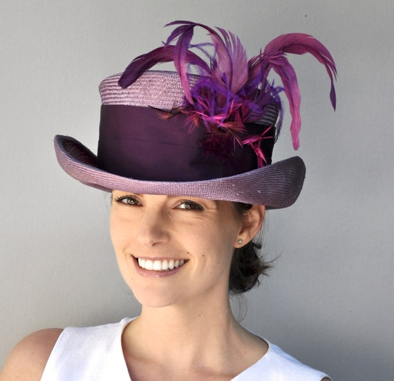 Kentucky Derby Hat, Purple Top Hat, Wedding Hat, Straw Mad Hatter, Ladies formal Hat, Ascot hat