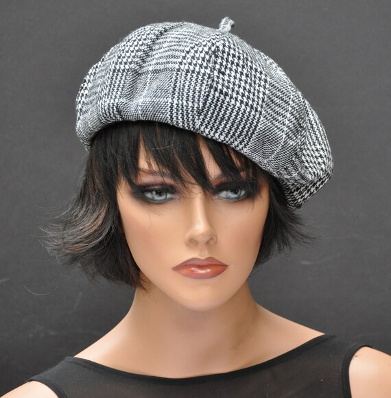 Black and White Winter Hat, Plaid Beret, Tam, Plaid Hat, Black and White Beret