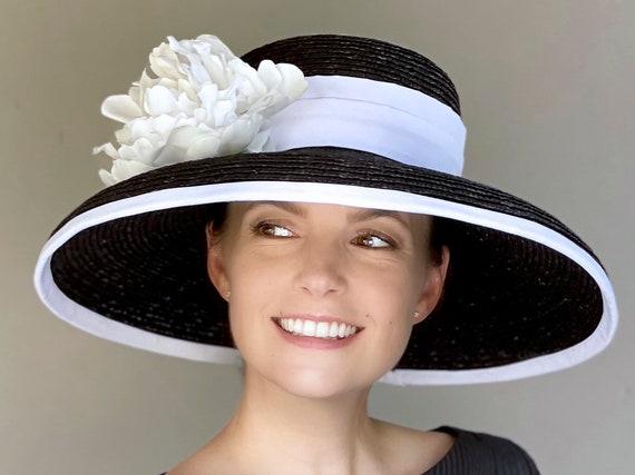 Kentucky Derby Hat, Wide Brim Hat, Wedding Hat, Black and White Hat Audrey Hepburn Hat, Women's Church Hat, Special Occasion Hat, Ascot hat,