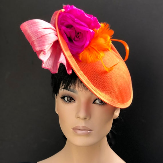 Kentucky Derby Hat, Women's Derby Hat, Royal Ascot Hat, Horse race Hat, Pink & Orange Saucer Hat