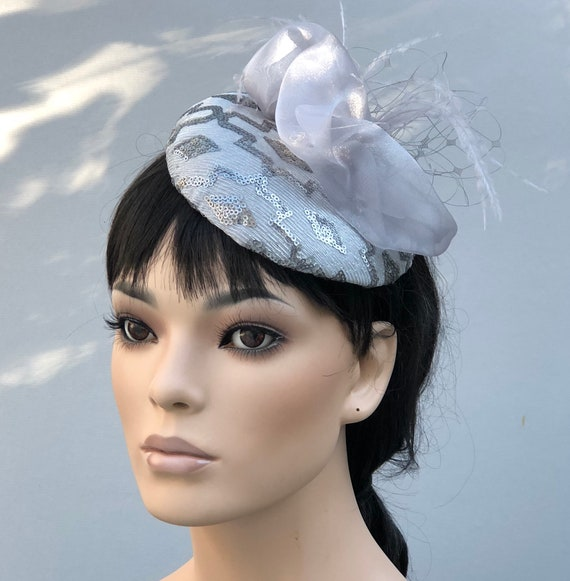 Wedding Hat, Silver Gray Cocktail Hat, Kentucky Derby Hat, Silver Gray Fascinator