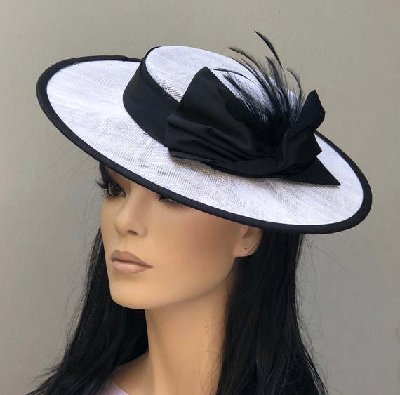 Black and White Boater Hat, Women's Boater Hat, Derby Hat, Wedding Hat, Ladies Formal Hat