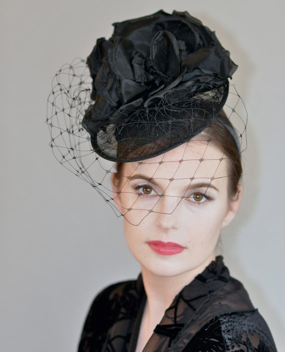 Ladies Black Hat, Kentucky Derby Hat, Formal hat,  Dressy Hat, Black Fascinator hat, Black Veil Hat, Saucer Hat, Cocktail Hat