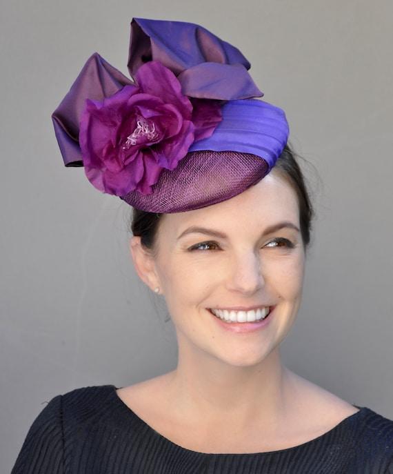 Purple Fascinator Hat, Percher, Cocktail Hat, Pillbox Hat, Fascinator, Wedding Hat, Kentucky Derby Hat, Church Hat, Ascot Hat, Occasion Hat