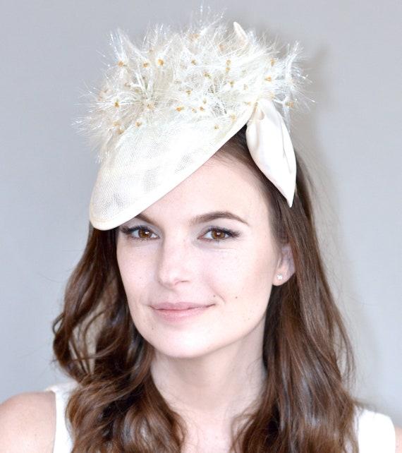 Cream Wedding Hat, Bridal Headpiece, Kentucky Derby Hat, Dandelion Headpiece, Formal Hat, Saucer Hat, Ascot Hat