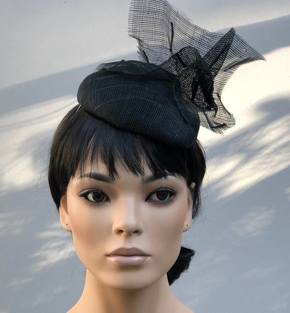 Women's Fascinator Hat, Black Formal Hat, Ladies Black Dressy Hat, Funeral Hat, Black Cocktail Hat