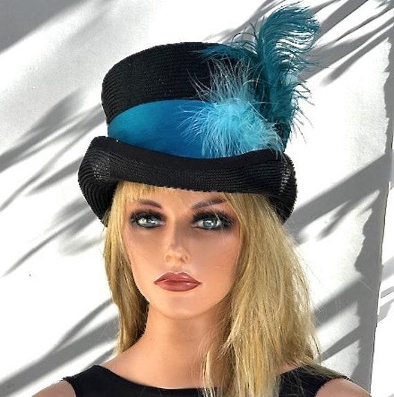 Kentucky Derby Hat, Royal Ascot Hat, Women's Top Hat, Women's Peacock Hat