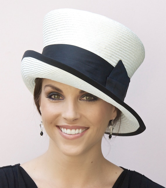Wedding Hat, Church Hat, Ladies Black & White Hat. Derby Hat, Occasion Hat, Women's Formal hat
