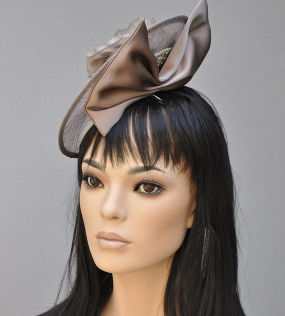 Fascinator Hat, Wedding Hat, Formal Hat, Women's Dress Hat, Ladies Taupe Hat, Church Hat