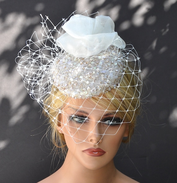 Wedding Hat, Wedding Headpiece, Beaded Fascinator, Ivory Veil Hat, Kentucky Derby Hat, Royal Ascot Hat, Formal Hat, Special Occasion Hat,