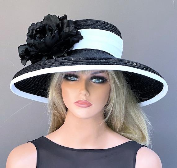 Kentucky Derby Hat, Wedding Hat, Women's Wide Brim Black and White Hat, Derby Hat, Church Hat, Women's Formal Hat, Dressy Hat Audrey Hepburn