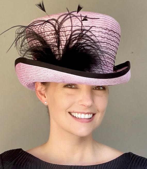 Kentucky Derby Hat, Women's Top Hat, Steampunk Hat, Wedding Hat, Women's Formal Pink and Black Hat, Royal Ascot Hat, Mad Hatter Hat