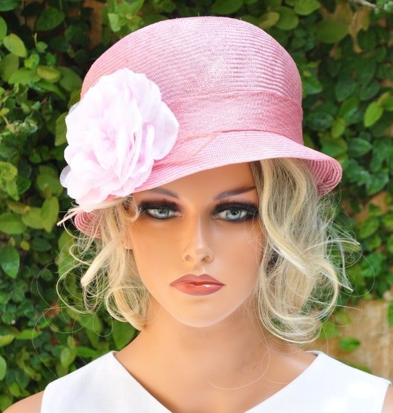 Wedding Hat, Kentucky Derby Hat, Women's Pink Formal Hat, Ladies Pink Dressy Hat