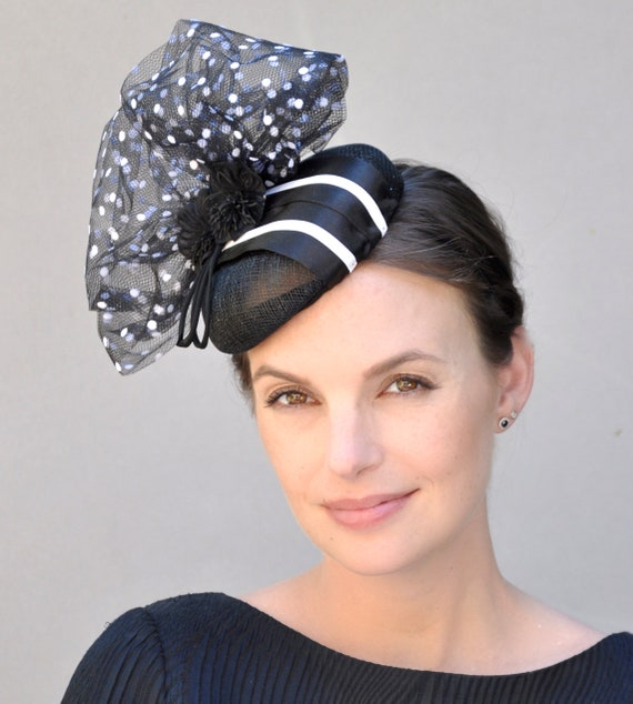Kentucky Derby Hat, Black Fascinator Hat,  Wedding Fascinator, Pillbox Hat, Cocktail Hat, Formal Hat, Ladies Black and White Hat