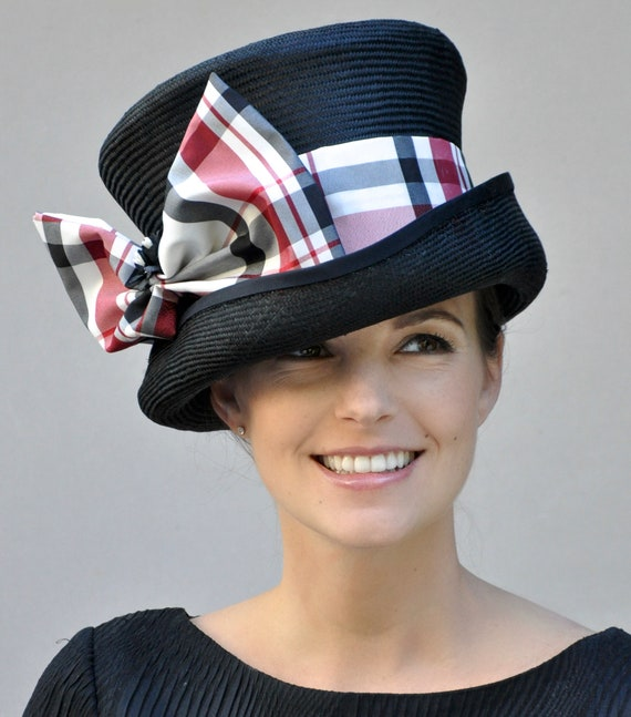 Women's Black Red White Hat, Formal Plaid Hat, Derby Hat, women's black hat  Formal Black Hat, Dressy Hat, Horse race hat, Occasion Hat
