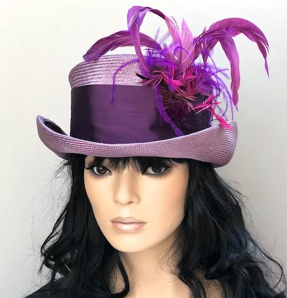 Kentucky Derby Hat, Purple Top Hat, Wedding Hat, Straw Mad Hatter, Ladies formal Hat, Ascot hat