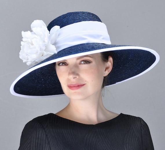 Navy and White Hat, Wedding Hat, Kentucky Derby Hat, Formal Hat. Ascot Hat, Audrey Hepburn Hat, Derby Hat, Wide brim hat, occasion hat