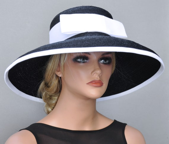 Kentucky Derby Hat, Wedding Hat, Women's Black & White Hat, Ladies Navy Hat, Navy White Hat, Church Hat, Wide Brim Hat
