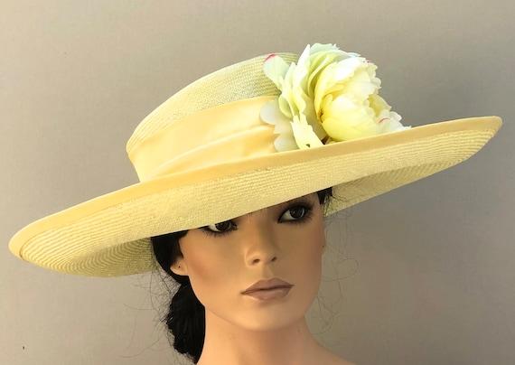 Kentucky Derby Hat, Wedding Hat, Wide Brim Formal Yellow Hat, Women's Kentucky Derby Hat, Ladies Formal Summer Straw Hat