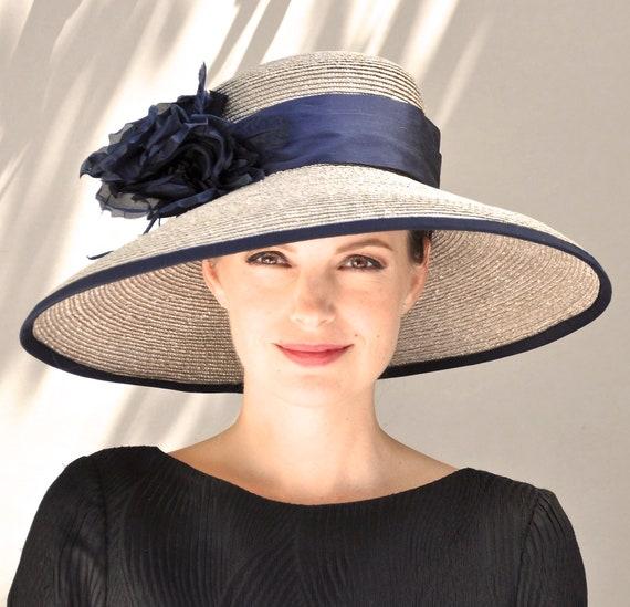 Wedding Hat, Ladies Navy Blue Hat, Kentucky Derby Hat, Formal Hat, Women's Navy Hat, Royal Ascot HatBig Hat, Special Occasion Hat
