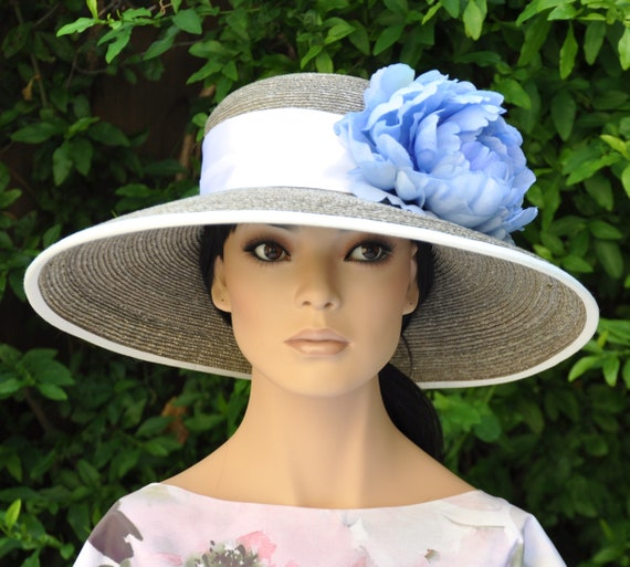 Kentucky Derby Hat, Wedding Hat, Church Hat, Taupe Hat, Ladies Blue Hat, Formal Hat, Dressy Hat, Special Occasion Hat