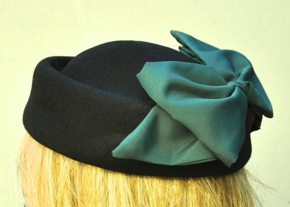 Black Pillbox Hat, Ladies Black Hat, Green Pillbox Hat, Formal Winter Hat, Elegant Winter Hat