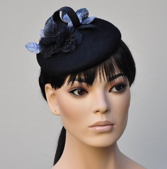 Black Winter Fascinator, Black Fascinator, Ladies Black Hat, Women's Black Hat, Formal Hat, Fascinator Hat, Funeral Hat