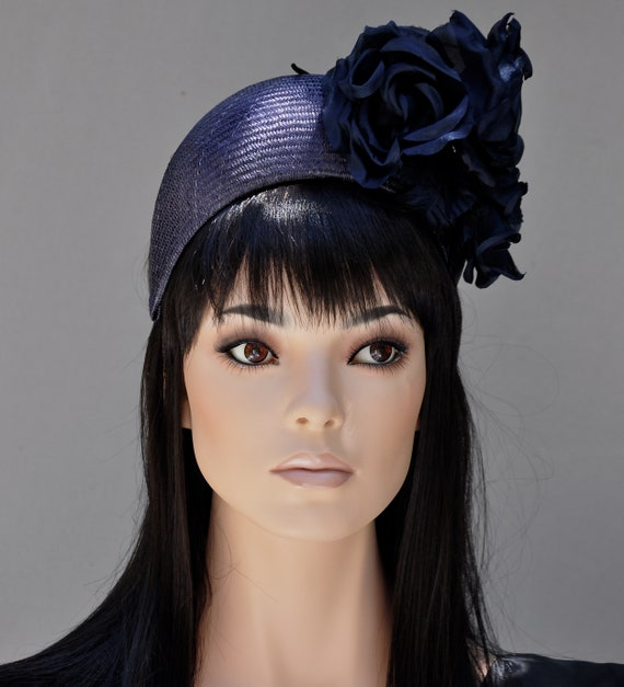 Ladies Navy Formal Hat, Kate Middleton Hat, Duchess of Cambridge Hat, Navy Crown Halo, Women's Navy Dressy Hat, Ascot Hat, Melbourne Cup Hat