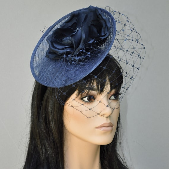 Wedding Hat, Ladies Navy Hat, Women's Formal Navy Hat, Hat with Veil, Fancy Hat, Saucer Hat