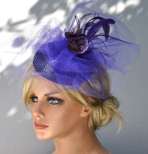 Purple Fascinator, Church Hat, Formal Hat, Wedding Hat, Fascinator Hat