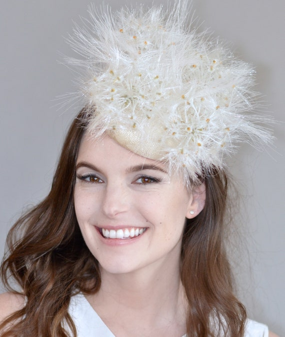 Kentucky Derby Hat, Wedding Hat, Bridal Headpiece, Fascinator Hat, Dandelion Hat, Formal Cream Ivory Hat, Ascot Hat, Saucer Hat, Formal hat
