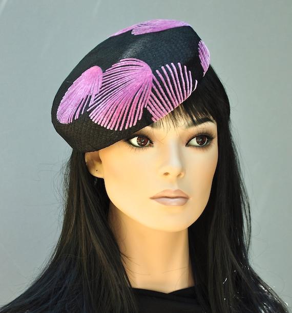 Wedding Hat, Kentucky Derby Hat, Pink and Black Pillbox Hat