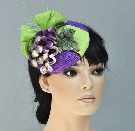 Pillbox Hat, Women's Fascinator Hat, Cocktail Hat, Ladies Purple & Green Hat, Women's Formal Summer Hat, Royal Ascot Hat