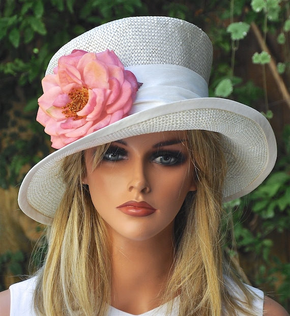 Ladies Straw Formal Hat, Women's  Formal Hat, Wedding Hat, Derby Hat, Mad Hatter, Occasion Hat