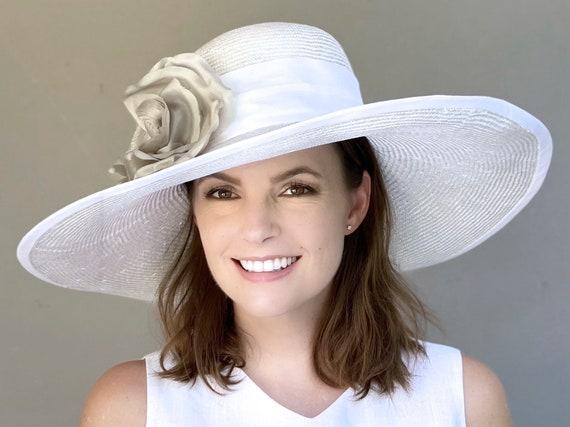 Kentucky Derby Hat, Women's White Wide Brim Formal Hat, Wedding Hat, Church Hat, Garden Party Hat, mother of bride hat, mother of groom hat