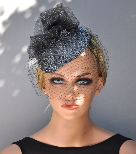 Black Fascinator Hat, Silver Fascinator, Formal Hat, Cocktail Hat, Dressy Hat, Veil, Fancy Hat