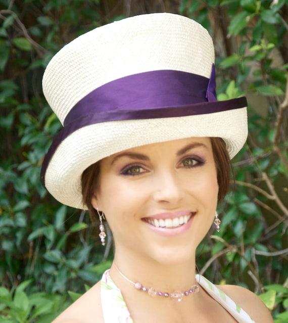 Wedding Hat, Cream Ivory Top Hat, Formal Hat,  Church Hat, Kentucky Derby Hat, Purple hat