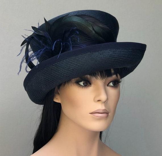 Women's Navy Hat, Ladies Navy Hat, Downton Abbey Hat, Wedding Hat, Women's Formal Hat, Derby Hat, Dressy Hat, Occasion Hat