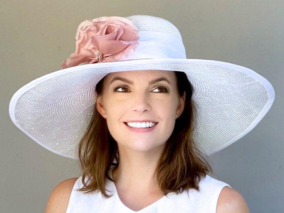 Kentucky Derby Hat, Wedding Hat, Ladies Pink and White Hat, Wide Brim Hat Special Occasion Hat, Women's Formal Ascot Hat