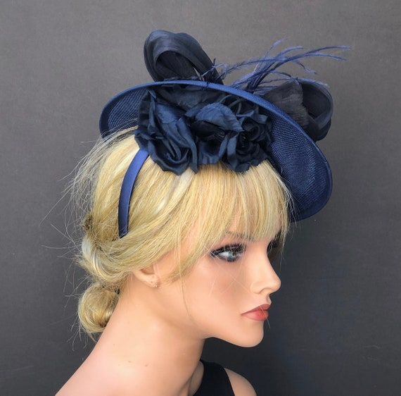 Royal Ascot Hat, Kentucky Derby Hat, Saucer Hat, Women's Fascinator Hat, Women's Formal Navy Hat, Wedding Hat, Special Occasion hat