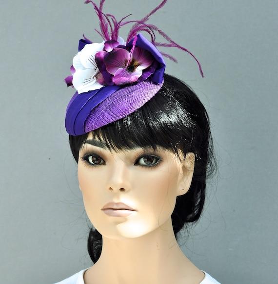 Kentucky Derby Hat, Women's Fascinator Hat, Women's Dressy Hat, Wedding Hat, Formal Hat Ladies Purple Violet Hat, Special Occasion Hat