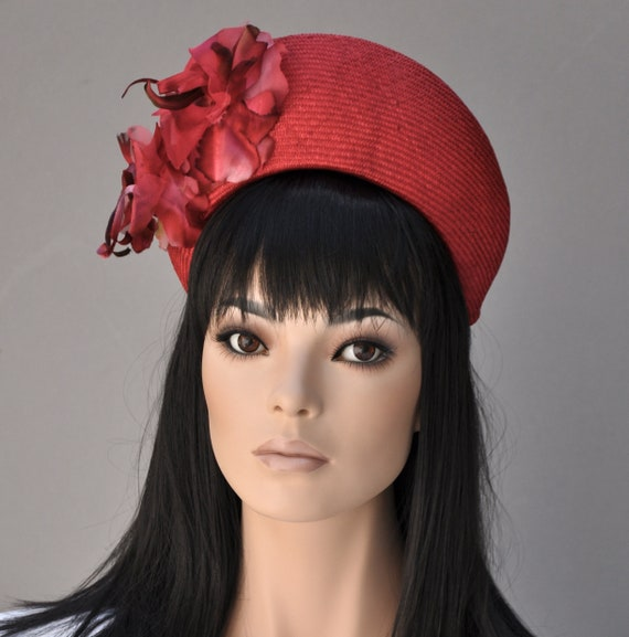 Women's Red Formal Hat, Kate Middleton Hat, Crown Halo Headpiece, Kentucky Derby Hat, Ladies Red Fascinator Hat, Royal Ascot Hat, Derby Hat