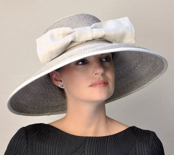Wedding Hat, Kentucky Derby Hat, Linen Hat, Special Occasion Hat, Formal Hat, Taupe Hat, Sun Hat, Garden Party Hat