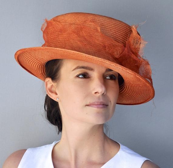 Women's Mad Hatter Boater, Ladies Orange Formal Hat, Women's Derby Hat, Church Hat