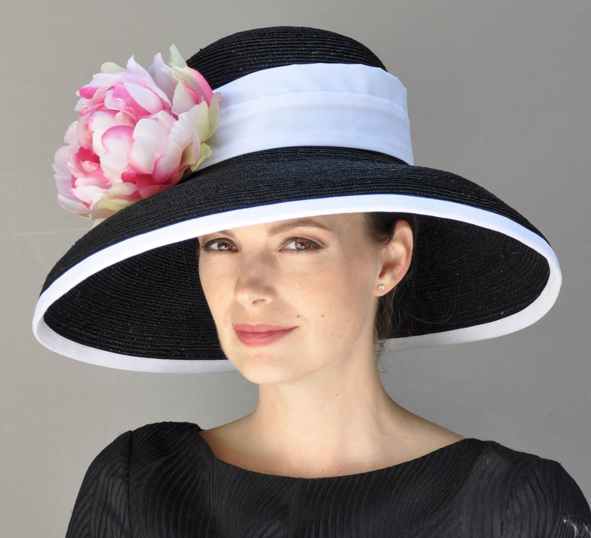 Derby Hat, Church Hat, Formal Hat, Black And White Hat