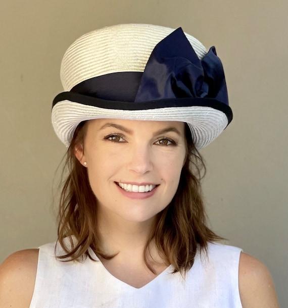 Wedding Hat, Women's Navy and White Hat, Kentucky Derby Hat, Ascot Hat, Church Hat, Ladies White Hat, Formal White Hat, Navy White Derby Hat