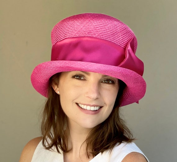 Women's Derby Hat, Wedding Hat, Ladies Pink Formal Hat, Women's Pink Derby Hat, Royal Ascot Hat, Special Occasion Hat