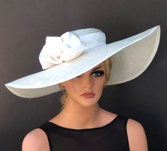 Kentucky Derby Hat Church Hat Wedding Hat, Picture Hat, Ladies formal hat, Cream Ivory wide brim Hat