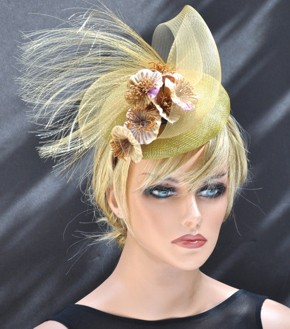 Kentucky Derby Hat, Wedding Hat, Ladies Gold Hat, Church Hat, Formal Hat, Ascot Hat, Elegant Hat, Gold Fascinator