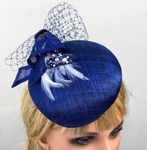 Ladies Navy Hat, Women's Royal Blue Hat, Wedding Hat, Kentucky Derby Hat, Elegant Hat, Formal Navy Hat, Navy Fascinator hat